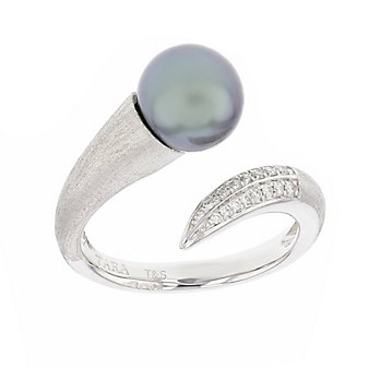 tara pearls 18k white gold black tahitian cultured pearl & diamond crossover ring