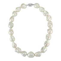Tara_Pearls_Sterling_Silver_White_Freshwater_Baroque_Cultured_Pearl_Strand,_18""