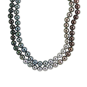 18K White Gold Tahitian Cultured Pearl Strand, 39""