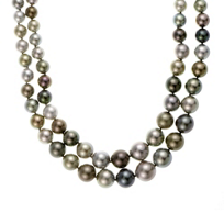 "tara_18k_white_gold_black_tahitian_south_sea_cultured_pearl_double_strand_with_diamond_clasp,_18.25"""