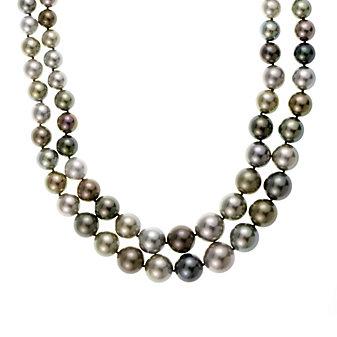 "tara 18k white gold black tahitian south sea cultured pearl double strand with diamond clasp, 18.25"""