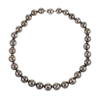 "tara 18k white gold black tahitian south sea cultured pearl & diamond strand, 17"""