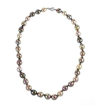 "tara 18k white gold black tahitian south sea baroque cultured pearl strand, 18"""
