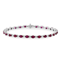 18K_White_Gold_Oval_Ruby_and_Round_Diamond_Bracelet,_7""