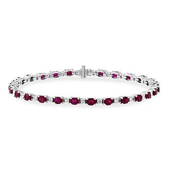 "18K White Gold Oval Ruby and Round Diamond Bracelet, 7"""