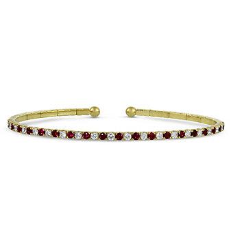 18K Yellow Gold Ruby and Diamond Cuff Bracelet