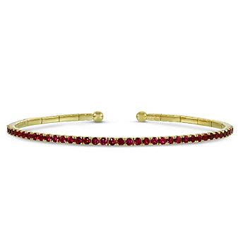 18K Yellow Gold Ruby Cuff Bracelet