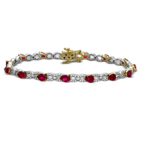 14K_Yellow_&_White_Gold_Pear_Shape_Ruby_&_Diamond_Bracelet