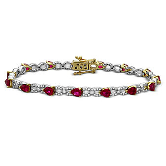 14K Yellow & White Gold Pear Shape Ruby & Diamond Bracelet