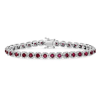 14K White Gold Round Ruby and Round Diamond Bracelet