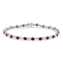 18K_White_Gold_Round_Ruby_and_Round_Diamond_Bracelet,_7""