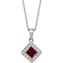 14K_White_Gold_Square_Ruby_and_Round_Diamond_Pendant