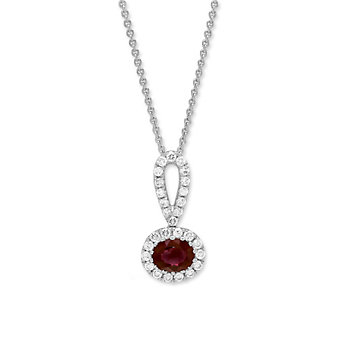14K White Gold Horizontal Oval Ruby and Diamond Pendant