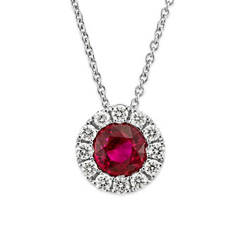 18K White Gold Round Ruby and Round Diamond Halo Pendant