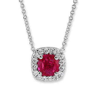 18K White Gold Ruby and Diamond halo Pendant