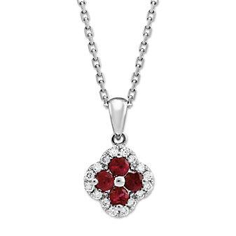 14K White Gold Ruby and Diamond Flower Pendant