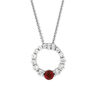 14K White Gold Diamond and Ruby Circle Pendant