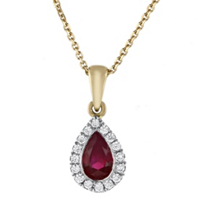 14k_yellow_&_white_gold_pear_shaped_ruby_&_diamond_halo_pendant,_18""