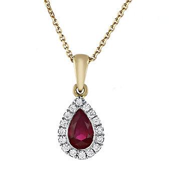 "14k yellow & white gold pear shaped ruby & diamond halo pendant, 18"""