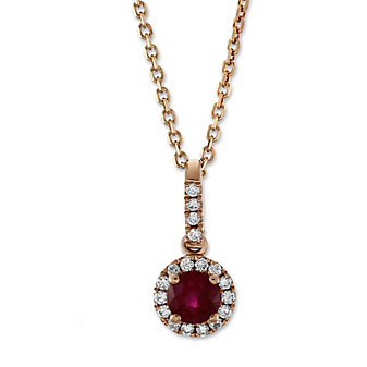14K Rose Gold Ruby and Round Diamond Halo Pendant