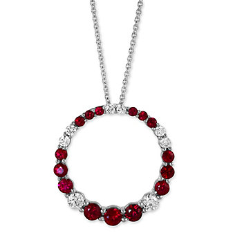 14K White Gold Ruby and Diamond Circle Pendant