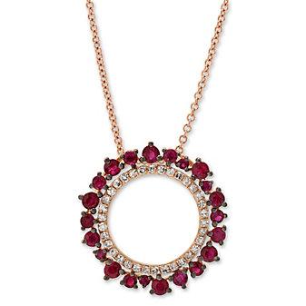 14K Rose Gold Round Ruby and Round Diamond Circle Pendant