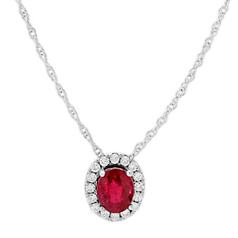14K White Gold Oval Ruby and Round Diamond Halo Pendant