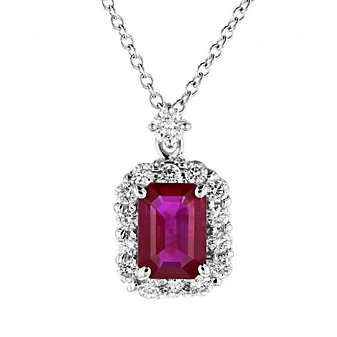18k white gold emerald cut ruby & diamond halo pendant