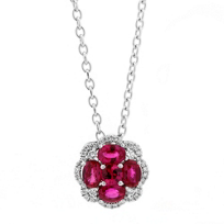 14K_White_Gold_Round_Ruby_and_Diamond_Halo_Flower_Pendant,_18""