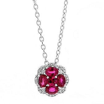 14K White Gold Round Ruby and Diamond Halo Flower Pendant, 18""