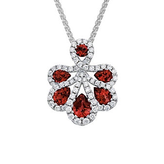 14K White Gold Ruby and Diamond Petals Pendant, 18""