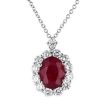 "18k white gold oval ruby & diamond halo pendant, 16"""