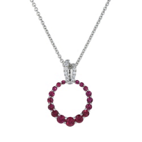 14k_white_gold_ruby_and_diamond_graduated_open_circle_pendant,_18""