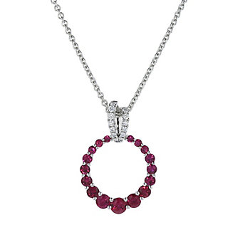14k white gold ruby and diamond graduated open circle pendant, 18""