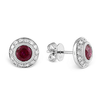 14K Ruby and Diamond Earrings