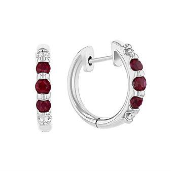 14k white gold ruby & diamond hinged hoop earrings