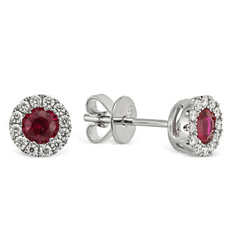18K White Gold Round Ruby and Round Diamond Halo Earrings
