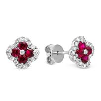 14K_White_Gold_Diamond_&_Ruby_Flower_Earrings