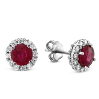 18K_White_Gold_Round_Ruby_and_Round_Diamond_Earrings