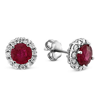 18K White Gold Round Ruby and Round Diamond Earrings