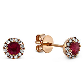 14K Rose Gold Ruby and Round Diamond Halo Earrings