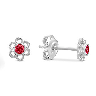Sterling Silver Child's Synthetic Ruby Flower Earrings