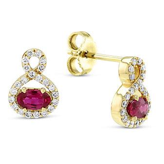 14K Yellow Gold Oval Ruby & Diamond Earrings, 0.30cttw