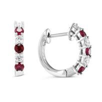 14k_white_gold_round_ruby_&_diamond_huggy_hoop_earrings
