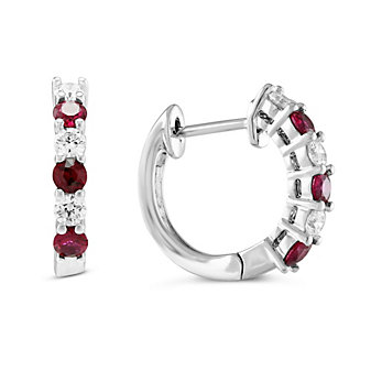 14k white gold round ruby & diamond huggy hoop earrings