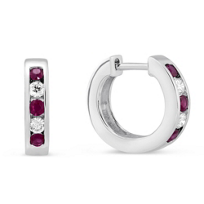 14K_White_Gold_Channel_Set_Round_Ruby_and_Round_Diamond_Hoop_Earrings