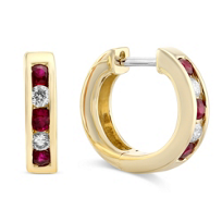 14K_Yellow_Gold_Channel_Set_Round_Ruby_and_Round_Diamond_Hoop_Earrings