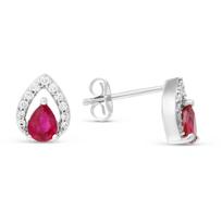 14K_White_Gold_Pear_Shape_Ruby_&_Round_Diamond_Earrings