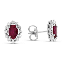 14K_White_Gold_Oval_Ruby_&_Round_Diamond_Earrings