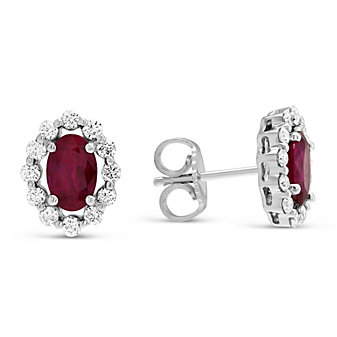 14K White Gold Oval Ruby & Round Diamond Earrings